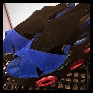 Blue and Black Velvet Platform